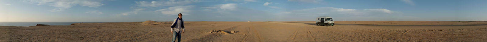Western Sahara Panorama, road, desert, sea, MB307