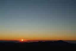 Red sunrise viewed from Mount Sinai.
