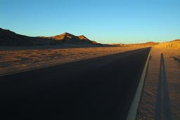 Sinai, long shade, road-desert, evening.