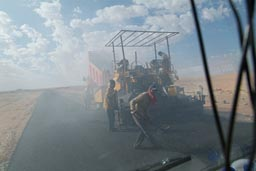 Tarring the road in Egyptian desert.