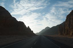 Egypt desert mountains road.