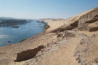 Tombs at the edge of the desert, Aswan and Nile river, Egypt.