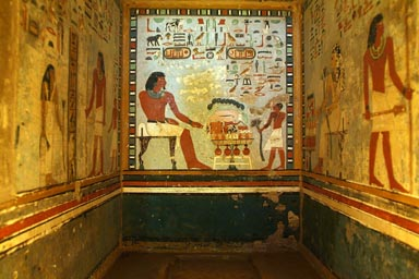 Tombs in Aswan, egyptian wall paintings.