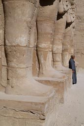 Arab man, Egyptian statues, Karnak Temple.