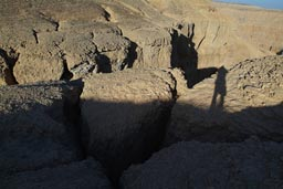 Ditches carved in Limestone rock, forming Canyons, behind valley of kings. Egypt.