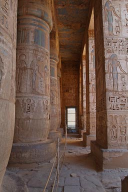 Painted hieroglyphs on columns, peristyle hall, Medinet Habu temple
