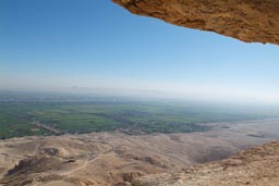 Nile valley below desert mountain of Al-Qurn.
