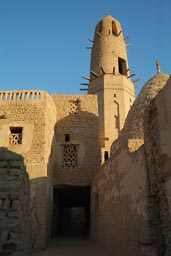 Dakhla Islamic village Al-Qasr. Minaret tower.