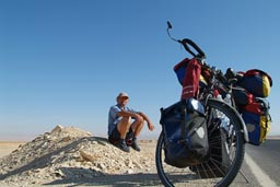 German Norbert on bike, southern Egypt.