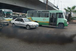 Black diesel smoke, Cairo traffic.