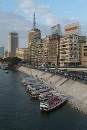 Cairo, Nile, skyline, pleasure boats.
