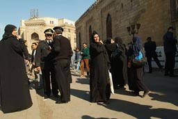 Friday mosque, police, women, Cairo Al Azhar.