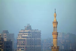 Minaret and smog on  a Cairo morning.