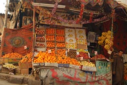 Oranges and other fruits sold in street Cairo.