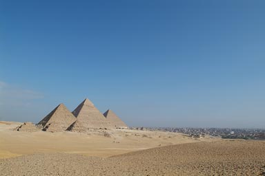 Giza Pyramids, Cairo to the left.