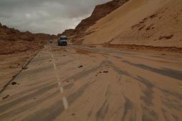 Mountain road Sinai, mud on road.