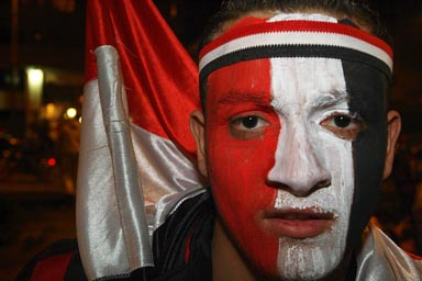 CAN 2010, Cairo Egyptian boy, face painted in Egyptian colours.