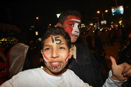 Cairo youngsters celebrate teams win 2010 Africa cup of Nations.