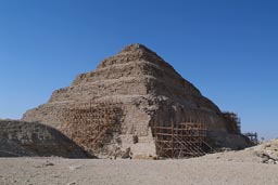 Saqqara step-pyramid under reconstruction.