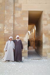 Two Egyptian guards, Saqqara temple entrance.