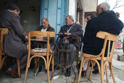 Street tea house, people watch domino players, Cairo.