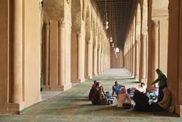 Ibn Tulun mosque Cairo, group of men and women.