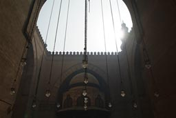 Sultan Hassan lights hanging from roof. Cairo.