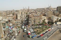 View from Ibn Tulun to Sultan Hassan and Citadel in Cairo.