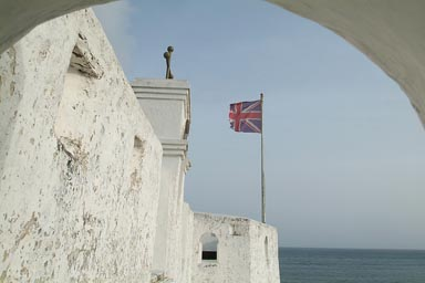 Union Jack still present, Missionaries have bought the land, Dixcove, Ghana