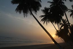 Ghana beach and sunset