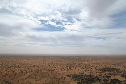 A view from top of Bandiagara Escarpement down on dunes, Dogon land Mali