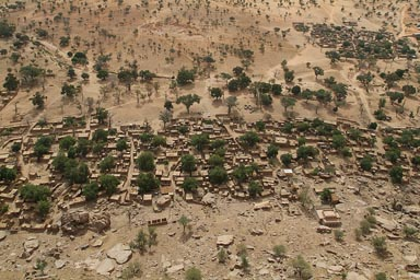 Village of Ende as seen from top of Dogon Escarpement