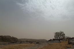 On top of Dogon cliffs, Harmattan haze.