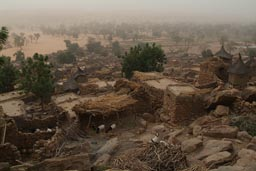 Village of Guiminie, Harmattan thick skies, Mali