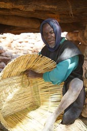 Old man, Dogon basket maker.