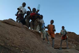 School childer, Dogon Land, walk up and down cliff every day.