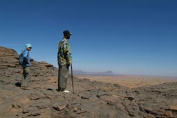 Rosalind and guide, The Yougas walk, view from top of cliff, Dogon Country.