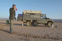 morning coffe in the dessert watching the sunrise