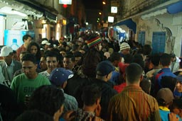 Festival Gnaoua/Gnawa, 2008 Essaouira, Morocco, crowded streets in old town/medina.