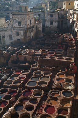 Fes, Chouara tannery, ash thrown in the dye