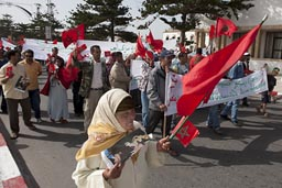 Pro Royality demo in Morocco, Essaouira. It is easy to find people who go down a road for some bucks and shout stuff they don't understand.