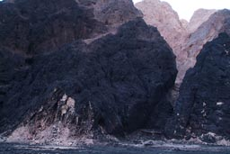 Charcoaled mountain after tanker explosion, Sinai.