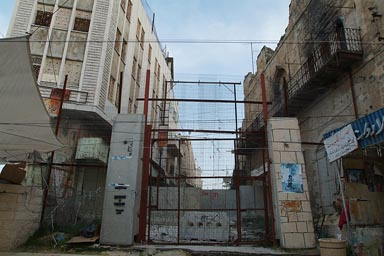 Hebron old city, blocked entrance, divided town.