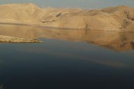 Reservoir lake, Jordan. desert mountains.