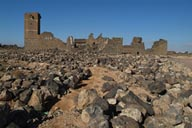 Basalt rubble, ruins of abandoned, ancient town of Umm al-Jimal.