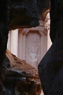 Petra Jordan through Siq, first glimbse of Treasure.