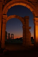 Dusk and arche and new moon, Palmyra.