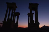 Tetrapylon and moon, Palmyra.