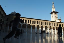 Umayyad Mosque, courtyard, Damascus. Boy running.