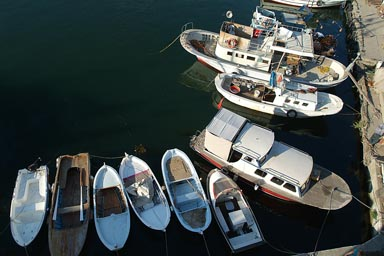 Boats in port of Galipoli, Turkey.